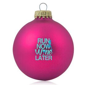 Running Glass Ornament Run Now Wine Later