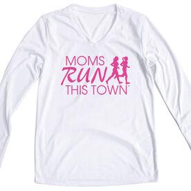 Women's Running Long Sleeve Tech Tee - Moms Run This Town Logo (Pink)