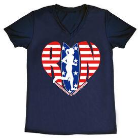 Women's Running Short Sleeve Tech Tee - Moms Run This Town Patriotic Heart
