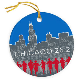 Running Porcelain Ornament Chicago 26.2 Skyline