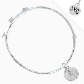 Livia Collection Sterling Silver Run Strong Token Adjustable Bangle