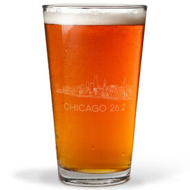 Running 20oz Beer Pint Glass - Chicago Sketch