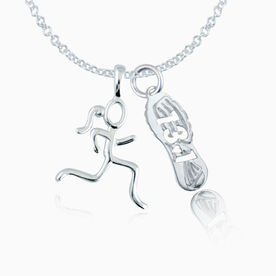 Sterling Silver 13.1 Shoe Tread  and  Sterling Silver Stick Figure Runner Necklace