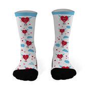 Running Printed Mid Calf Socks Cupid Heart Runner