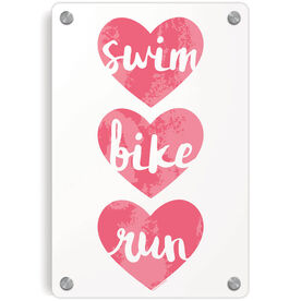 Triathlon Metal Wall Art Panel - Swim Bike Run Watercolor Hearts