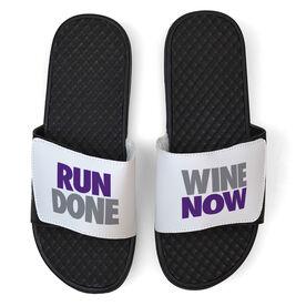 Running White Slide Sandals - Run Done Wine Now