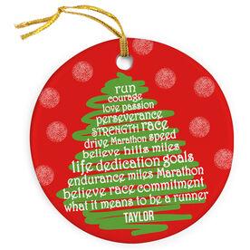 Running Porcelain Ornament Runner Christmas Tree