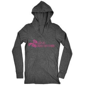 Women's Running Lightweight Performance Hoodie - She Runs This Town Logo (Pink)
