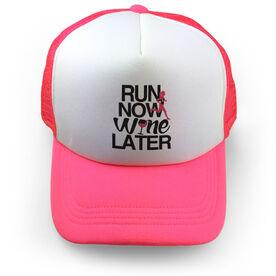 Running Trucker Hat Run Now Wine Later