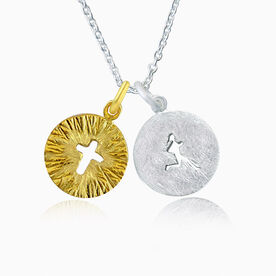 Livia Collection Sterling Silver and 14K Gold Vermeil Faith Runner Necklace