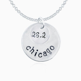 Sterling Silver Hand Stamped Curly Font 26.2 Chicago Curly Font Double Layered Charm Necklace