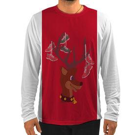 Men's Running Customized Long Sleeve Tech Tee Deer and Santa