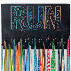 Running Hooked on Medals Large Medal Hanger Run With Inspiration ChalkBoard