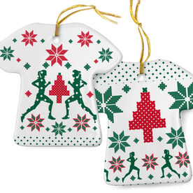 Running Porcelain Ornament Ugly Christmas Sweater  Female