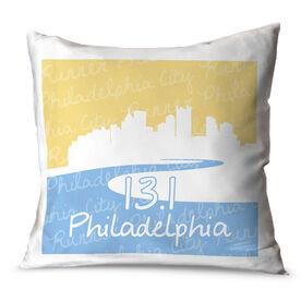 Running Throw Pillow Philadelphia Skyline