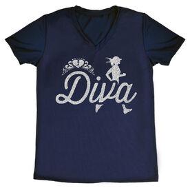 Women's Running Short Sleeve Tech Tee Running Diva Glitter