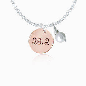 14K Rose Gold Filled 26.2 .5 Inch Circle Hand Stamped Curly Font Pendant with Pearl Necklace