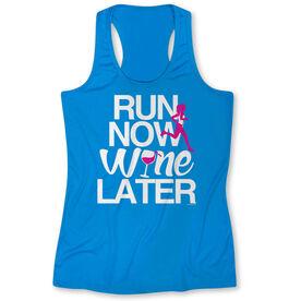 Women's Performance Tank Top Run Now Wine Later (Bold) (Blue)