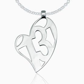 Sterling Silver 13.1 Half Marathon Heart Pendant Necklace