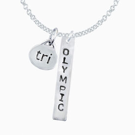 Sterling Silver Hand Stamped Rectangular Olympic Pendant and Sterling Silver Tri Oval Charm Necklace