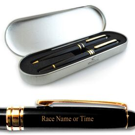 Engraved Marathon Black Roller Pen and Ball Point Pen Set