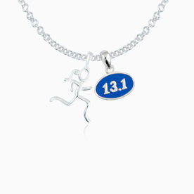 Sterling Silver Mini Stick Figure and Sterling Silver Blue Enamel Mini 13.1 Pendant Necklace