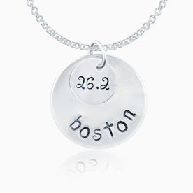 Sterling Silver Hand Stamped Curly Font 26.2 Boston Curly Font Double Layered Charm Necklace