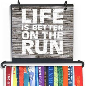 BibFOLIO Plus Race Bib and Medal Display - Life Is Better On The Run Rustic