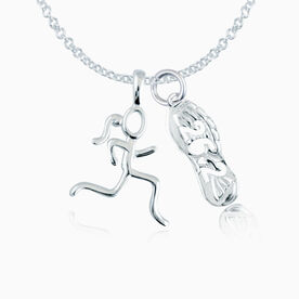 Sterling Silver 26.2 Shoe Tread  and  Sterling Silver Stick Figure Runner Necklace