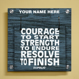 Personalized Courage to Start Rustic Wall BibFOLIO® Display