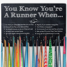 Running Hooked on Medals Large Medal Hanger You Know Your a Runner When ChalkBoard