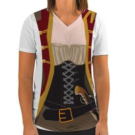 Women's Customized White Short Sleeve Tech Tee Female Pirate