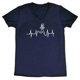 Womens Running Short Sleeve Tech Tee Heart Beat Female Runner