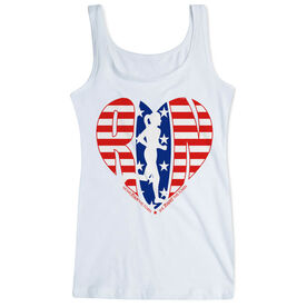 Women's Athletic Tank Top - Moms Run This Town Patriotic Heart