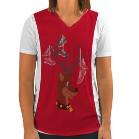 Women's Customized White Short Sleeve Tech Tee Deer and Santa