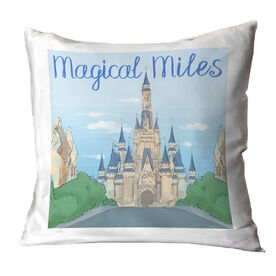 Running Throw Pillow - Magical Miles Sketch