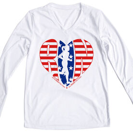 Women's Running Long Sleeve Tech Tee - Moms Run This Town Patriotic Heart