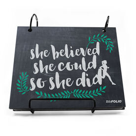 BibFOLIO® Race Bib Album - She Believed She Could So She Did Chalkboard