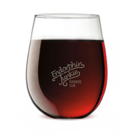 Running Stemless Wine Glass Run Club Endorphin Junkie