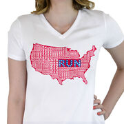 Women's Customized White Short Sleeve Tech Tee USA Runner