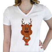 Women's Customized White Short Sleeve Tech Tee Reindeer Runner