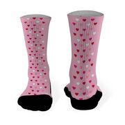 Printed Mid Calf Socks Valentine Hearts