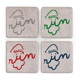 Running Stone Coaster Set of 4 - Santa Run Face