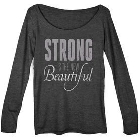 Women's Runner Scoop Neck Long Sleeve Tee Strong Is The New Beautiful