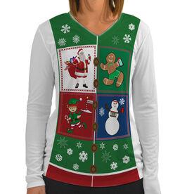 Women's Customized White Long Sleeve Tech Tee Santa Gingerbread Man Snowman Runners