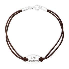 She Believed Sterling Silver Cord Bracelet