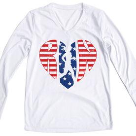 Women's Long Sleeve Tech Tee - Patriotic Heart