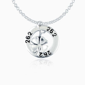 Sterling Silver 26.2 Marathon Message Ring and Sterling Silver Four Leaf Clover Necklace