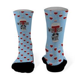 Running Printed Mid Calf Socks Will Run For Wine (Deco)