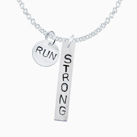 Sterling Silver Hand Stamped Block Font Run Strong Necklace with Birthstone